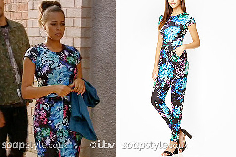 Steph's Blue Floral Jumpsuit in Coronation Street - Details - SoapStyle