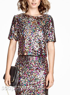 Linda's Sequin Cropped Tee