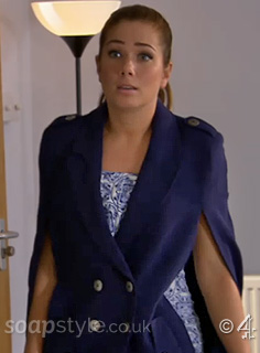 Picture of Maxine Minniver wearing her navy cape coat in Hollyoaks