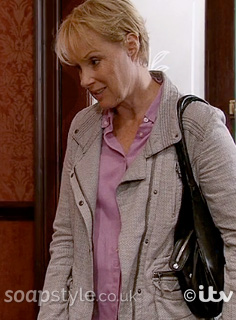 Picture of Sally wearing her grey jacket in Coronation Street