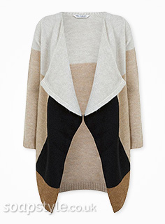 Sarah-Lou's Colourblock Cardigan in Corrie - Details - SoapStyle