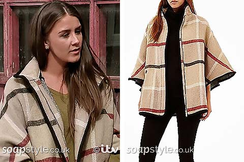 Picture of Sophie Webster wearing her cape coat in Corrie