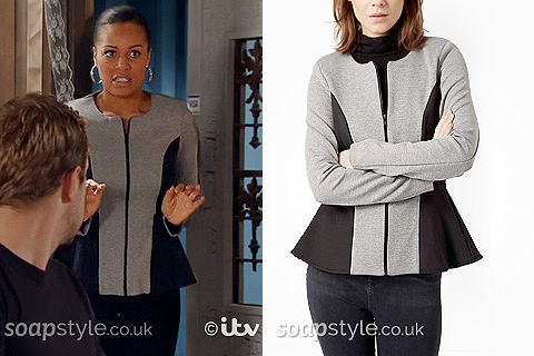Steph Britton's Grey & Black Peplum Jacket in Corrie - SoapStyle