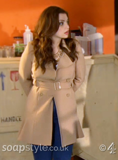 Celine's Belted Camel Coat in Hollyoaks - SoapStyle