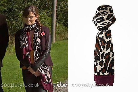 Chrissie's Leopard Print Scarf in Emmerdale - SoapStyle