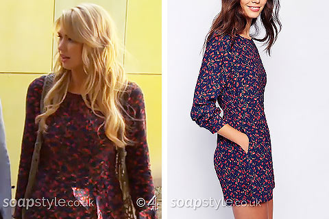 Holly's floral playsuit in Hollyoaks - SoapStyle