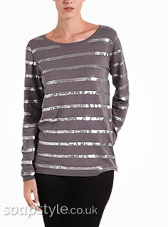 Leanne's Sequin Stripe Jumper in Corrie - Details - SoapStyle