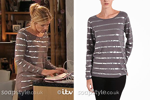 Leanne's Sequin Stripe Jumper in Coronation Street - SoapStyle
