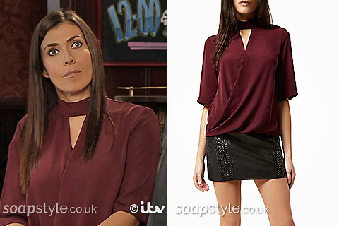 Picture of Michelle wearing her dark red / burgundy wrap top in Corrie