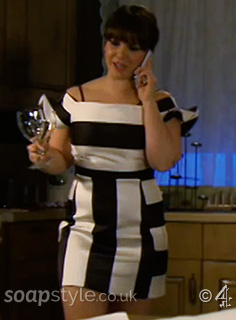 Nancy's Black & White Stripe Dress in Hollyoaks - SoapStyle