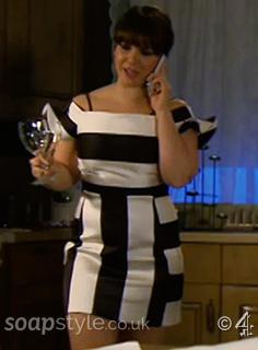 Nancy's Black & White Stripe Dress in Hollyoaks - SoapStyle