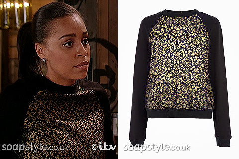 Steph's black & gold jumper in Corrie - Details - SoapStyle