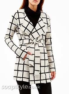 Tracy's Belted Check Coat in Corrie - Details - SoapStyle