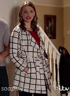 Tracy's Cream & Black Belted Check Coat in Corrie - SoapStyle