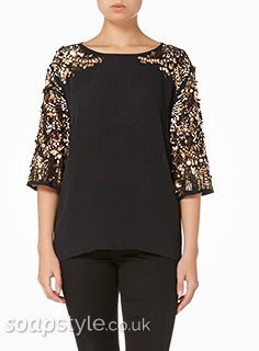 Carla's Gold Sequin Christmas Top in Corrie - Details - SoapStyle