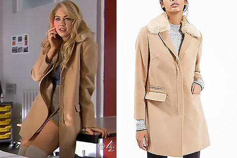Holly's Faux Fur Collar Camel Coat in Hollyoaks - SoapStyle