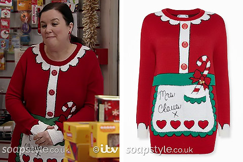 Mary's Mrs Claus Christmas Jumper in Corrie - SoapStyle