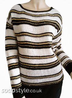 Maxine's Black & Gold Stripe Jumper in Hollyoaks - Details - SoapStyle