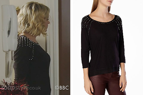Roxy's black studded top in EastEnders - Details - SoapStyle