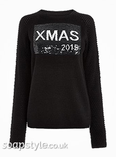 Sarah's Christmas Xmas Jumper in Corrie - Details - SoapStyle