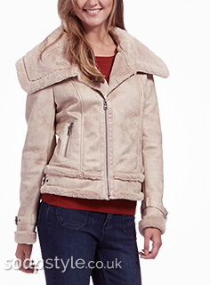 Tracy's Shearling Biker Jacket in Corrie - Details - SoapStyle