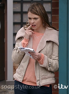 Tracy's Shearling Biker Jacket in Corrie - SoapStyle
