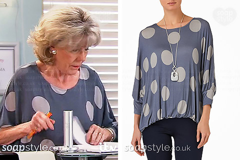 Audrey's Spot Print Batwing Top in Corrie - SoapStyle