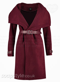 Lindsey's Burgundy Wrap Coat in Hollyoaks - Found - SoapStyle