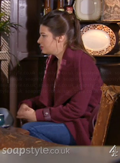 Lindsey's Burgundy Wrap Coat in Hollyoaks - SoapStyle