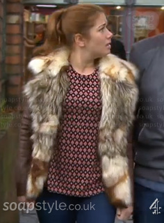 Maxine's Geo Diamond Print Top in Hollyoaks - SoapStyle