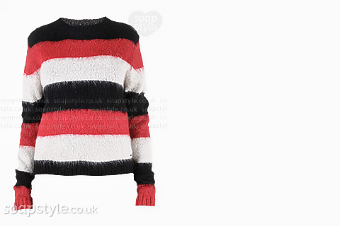 Michelle's Black, Red & White Stripe Jumper in Corrie - Details - SoapStyle