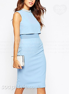 Picture of Sienna's light blue layered dress in Hollyoaks