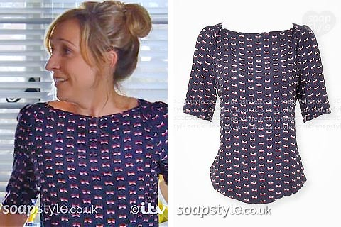 SoapStyle.co.uk - Emmerdale - Laurel Dingle Navy Blue Bow Top - Where From