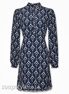 Sonia's geo print shirt dress in EastEnders - Found - SoapStyle