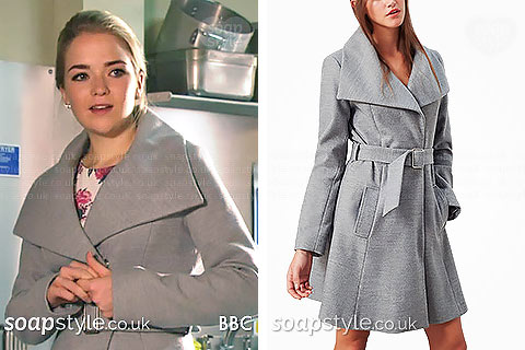 Abi's grey wrap coat in EastEnders - SoapStyle