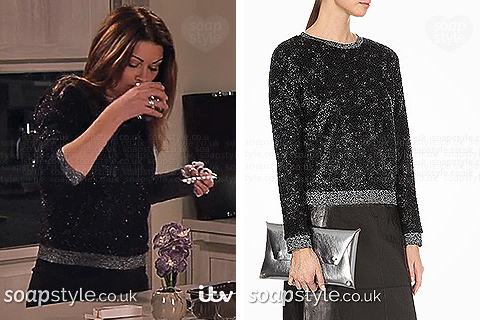 Carla's black & silver sparkle top worn in Corrie - SoapStyle