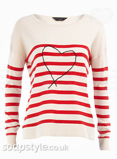 Tracy's red stripe heart jumper in Corrie - Details - SoapStyle