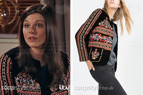 Kate's black embroidered jacket in Corrie - SoapStyle