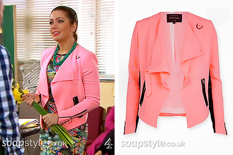 Maxine's pink and black jacket in Hollyoaks - SoapStyle