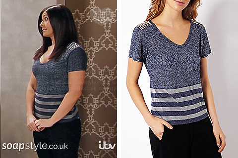 Michelle's studded shoulder top in Corrie - SoapStyle