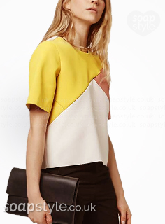 Picture of a match for Nancy's yellow and peach colour block top in Hollyoaks
