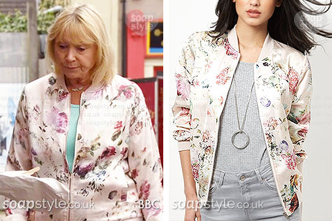 Picture of Pam Coker wearing her satin floral bomber jacket in EastEnders