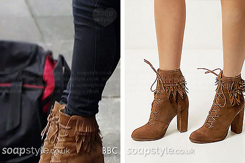 Roxy's tan fringe boots in EastEnders - SoapStyle