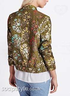 Sally's green floral bomber jacket in Coronation Street - Found - SoapStyle