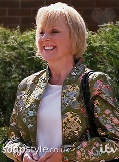 Sally's green floral bomber jacket in Coronation Street - SoapStyle