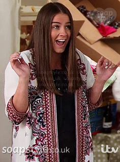 Sophie Webster wearing her floral kimono jacket in Corrie