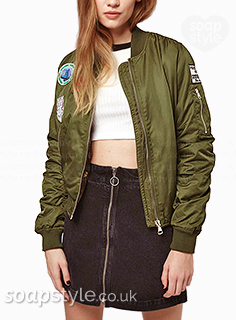 Amy's khaki green badge bomber jacket in Corrie - Found - SoapStyle