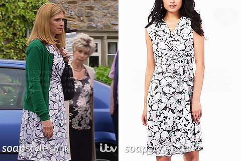 Bernice's grey floral dress in Emmerdale - SoapStyle