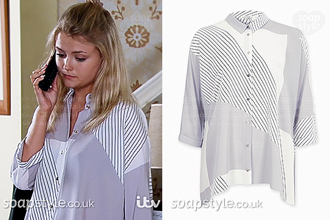 Bethany's striped shirt in Coronation Street - SoapStyle