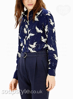 Fiz's Navy Bird Print Blouse